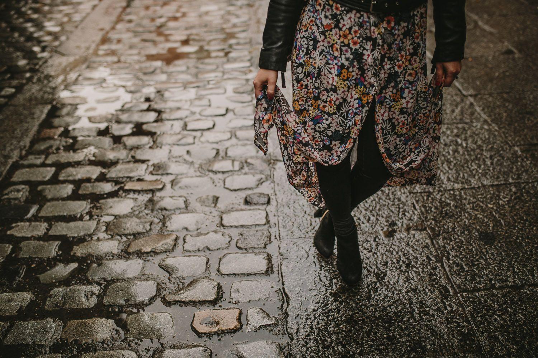 Detalles vestido en preboda urbana